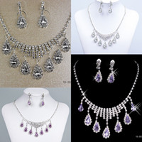 Wholesale New Bling Bling Wedding Jewelry necklace and earring set Silver plated Rhinestones Diamond Designer Evening Bridal Accessory Jewelry