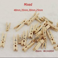 wood clamp - 100pcs Mixed mm mm mm mm Natural wooden clip clamp Memo clamps clips Real Wood Pegs Clothespins for Home Decoration