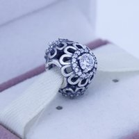 Wholesale Silver Floral Brilliance Charm with Clear Cubic Zirconia Original Sterling Silver Charms DIY Jewelry AC3266