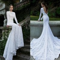 Cheap 2016 berta lace wedding dresses with long sleeves backless ribbon bridal gowns chapel train lace evening dresses long