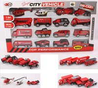 toy fire truck - The section slide model proportion alloy car fire engine toy car model display pieces set