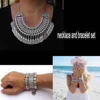 Wholesale Ethnic Turkish India Tribal Gypsy Bohemian Beachy Chic Statement Necklace Bracelet Set Boho Festival Silver Fringe Bib Coin