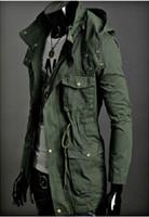 achat en gros de mens long manteau à capuchon-Wholesale-BRAND Freeshipping Hommes Capuche Coat Mince Jaqueta Veste d'hiver en laine Hommes épaissir manteau Long Trench Coats Slim militaire Veste