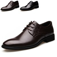 comfortable formal shoes - Top Autumn Men Shoes Pointed Toe Lace Up Comfortable Flats Formal Wedding Party Business Dress Shoes For Men Size TA0150 Salebags