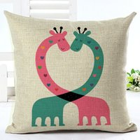 Wholesale Cartoon Printing Pillow Sample Boy And Girl Cushion Cover Cotton Linen Cojines Home Textiles Throw Pillow Cover Square Printed