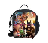backpack lunchbox - 2014 New Arrival Kids Cartoon Batman Superman Lunch Bags Thermal Insulated Lego Shoulder Lunchbox Fashion Hero Children Food Bag