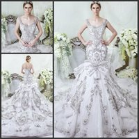 Wholesale 2016 New Gorgeous Full Beaded Crystal Mermaid Wedding Dresses Vintage Scoop Sleeveless Tulle Appliques Royal Cathedral Train Wedding Dress