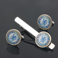 men's tie clips - football club cufflinks and tie clip set for mens high quality shirt jewelry world cup cuff links clips sets