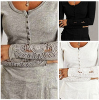 tunic shirt - 2015 New Auturn Women Sexy Tunic Embroidery Lace Long Sleeve Basic Plain Solid T shirt Blouse Tops Crew Neck Button