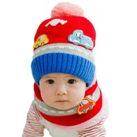 Wholesale Cute Warm Baby Girl Boy Knitted Hat Scarf Set Winter Cartoon Car Pattern Fleece Cap Neck Hat and Scarf Children Two Piece Set