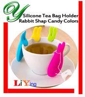 Wholesale Silicone Tea Bag Holder Hanger storage organizers Cup Mug Gift tea maker tools Creative Rabbit Shape Candy Colors tea infuser strainer box