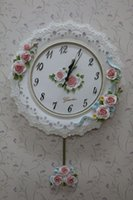 Wholesale fantastic decorated with lovely flowers made of environmentally friendly high grade resin and convenient to clean wall clock