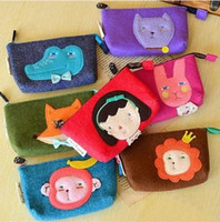 animal pens monkey - Fashion Cute Sewing Cartoon Role Monkey Rabbit Lion Fox Bear Crocodile Stationery Felt Pencil Case Purse Dress Cosmetic Pen Bag