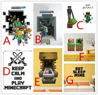 Wholesale minecraft wall stickers d hot cartoon wallpapers wall decals wallpaper children removable wallpaper for kids room in stock