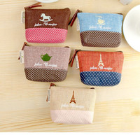 Wholesale New canvas bag Coin keychain keys wallet Purse change pocket holder organize cosmetic makeup Sorter Y604