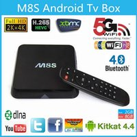 Wholesale M8S Android TV Box G G Dual band G G wifi Android Amlogic S812 Chip K XBMC Full HD Smart tv Media Player m8