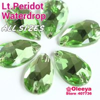 Wholesale Light Peridot Waterdrop Glass Sew on Rhinestones All Size For Choice Lt Green Color Droplet Sew on Rhinestone For Dress Y3014