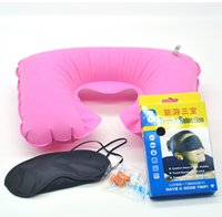 air travel comfort - travel bags flocking air pillow goggles earplugs eyecup comfort neck pillow eyeshade