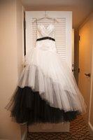 Wholesale 2015 Popular Sweetheart Lace Up Ruffles White and Black Wedding Dress Brides Gown LS08129