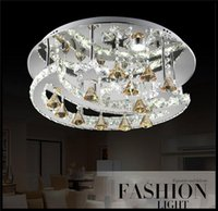 Wholesale New cm Remote Control Modern Chandelier W LED Ceiling Lamps K9 Crystal Lights European American Quality Home Decoration Chandeliers