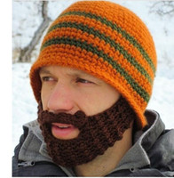 Wholesale Handmade Knitted Crochet Beard Hat balaclava Winter for Men Warm Bicycle Mask Ski Cap Roman knight Octopus Cool Funny Beanies Promotion HH21