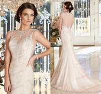Wholesale Kitty Chen Designers Anastasia V1387 Mermaid Wedding Dresses Champagne Rose Sexy Sheer Jewel Lace Applique Beads Tulle Bridal Gowns