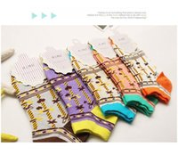 adult slipper pattern - Bright color women sock slippers National trendy Bow tie pattern fashion sell Girl adult socks ankle short