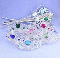 magic set - 2015 Christmas Gift frozen crown magic wand set crown magic wand Elsa Anna Cartoon Sets