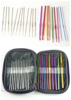 Wholesale 22PCS Set New Multi color Aluminum Handle Crochet Hooks Kit Yarn Stitches Knitting Needles Weave Craft Tools With Case for sweater gloves