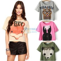 Cheap 2014 Summer Women Fashion European Style Tees Loose Cartoon Foxes Animal Character Cute Short T-shirt Tops #6 SV004555