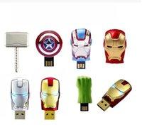 memory thumb drive - 2015 New Hot The Avengers LED Flash GB USB Flash drive Iron Man Hulk Hero Captain Memory Drive Stick Pen Thumb USB flash disk