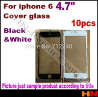 Wholesale 10pcs mm For iPhone g quot inch Front Outer Replacement Touch Screen Digitizer Glass Lens For iPhone6 White Black