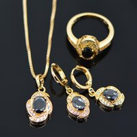 Cheap Wholesale-Fashion 18K real gold plated austria crystal women's Beautiful black stone pendant necklace earrings ring Jewelry SetsS20056