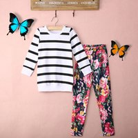 Wholesale Cute Baby Kids Girls Clothes Stripe T shirt Tops Floral Leggings Outfit Sets