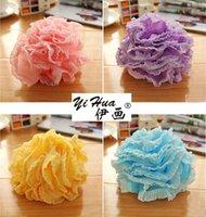 Wholesale yihua High Quality Lace Mesh Pouf Sponge Bathing Spa Handle Body Shower Scrubber Ball Colorful Bath Brushes Sponges Bath Flower