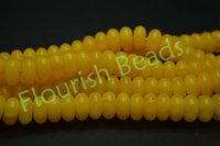 al por mayor collares ámbar-Nuevo Launch 5x10mm Amarillo Sintético Amber Rondelle Barrel Espaciador Beads Fit Fashion Pulsera Collar Joyas hecho a mano