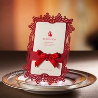 Wholesale CW062 Laser Cut Free Personalized Customized Printing Red Wedding Invitations Cards With Bowknot