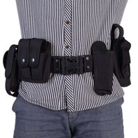 Wholesale Unisex Tactical Police Security Guard Equipment Duty Utility Kit Belt with Pouches System Holster Outdoor Training Black