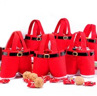 christmas decoration santa claus - 2014 New Hot Santa Claus Pants Style Christmas Xmas MEDIUM Red Candy Wine Hands Bag Basket Pouch For Holiday Decorations