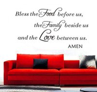 Wholesale Bless the Food Family Love Amen Wall Vinyl Sticker Decal Quote Saying Kitchen