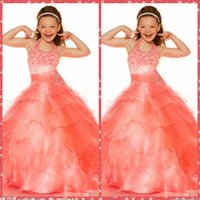 Cheap Halter Beaded Crystal Ball Gown Pageant Party Dresses Cascading Ruffles Tiered Floor-Length Made In China Flower Girls Dresses Custom Online