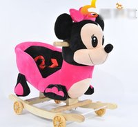 wooden chair - EMS DHL Infant Boys Girls Rocking Chair With Music Kids Baby Cotton Dinosaur Toys Rocking Horse Stoller High Quality Mikey Ducks Bear H2441