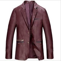 Wholesale Winter Leather Blazer Mens Jackets and Coats Erkek Ceket Fashion Slim Fit Black Long Sleeve Blazers