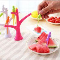 Wholesale Easy Bird Fruit Snack Dessert Forks Tree Shape Holder For Party Home Decor Hall