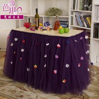 baby modern furniture - Custom Tulle Table Skirt Tutu Table Decoration for Weddings Imitation Pearls Birthdays Baby Bridal Showers Parties Tutu Party Decor