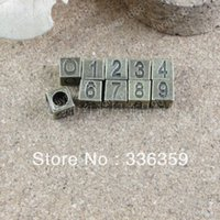 Wholesale DIY Antiqued Bronze Vintage Alloy Number Square Spacer Beads Bracelete Handmade Accessories Set