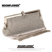 Wholesale Fashion Women s Full Diamond Bag Top Quality Silver Crystal Evening Bag Dumpling Party Purse With Chain Gold Black Silver