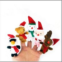 Wholesale 1000pcs CCA2628 Hot set Cartoon Christmas Santa Claus Finger Toys Puppet Plush Toy Snowman Bear Dolls For Kids Baby Kids Novelty Gifts