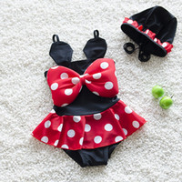 Wholesale Girls Bikini Swimsuit New Korean Cute Polka Dot Minnie Kids Swimsuit Ruffle Bow Princess Two Pieces Swim MK