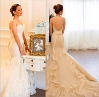 beautiful dress - Beautiful Strapless Tulle Applique Bow Mermaid Wedding Dresses Vintage Lace Open Back Bridal Gowns New Arrival Backless Wedding Dress